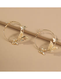 Fashion Gold Color Butterfly Alloy Geometric Round Earrings