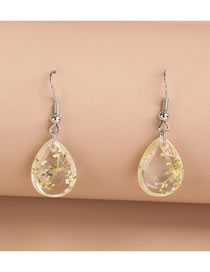 Fashion White Resin Dried Flower Gypsophila Drop Earrings