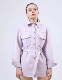 Fashion Purple Belted Leather Jacket