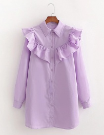 Fashion Purple Ruffled Shirt-style Loose Long-sleeved Dress
