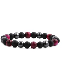 Fashion Red Gallstone Frosted Tiger Eye Stretch Beaded Bracelet