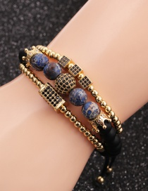 Fashion Gold Colorful Suit Micro-inlaid Zircon 4mm Copper Bead Cube Cuboid Bracelet Set