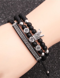 Fashion Platinum Suit 6mm Frosted Stone Crown Three-cut Round Leather Strip Beaded Bracelet
