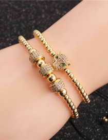 Fashion Gold Colorful Suit Diamond Lion Head Wheel Copper Bead Bracelet Set