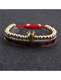 Fashion 6mm Copper Bead Crown Gold Colorful Set Stainless Steel Roman Alphabet Copper Beads Crown Opening Adjustment Bracelet Set