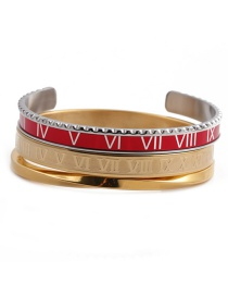 Fashion Red Open Bracelet Set Stainless Steel Roman Letter C Twisted Opening Adjustment Bracelet Set
