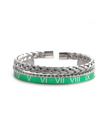 Fashion Green Open Bracelet Set Stainless Steel Roman Letter Twist Opening Adjustment Bracelet