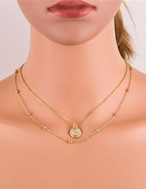 Fashion Gold Color Coin Round Bead Chain Alloy Double Necklace