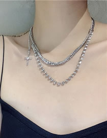 Fashion Silver Color Rhinestone Stitching Chain Cross Double Necklace