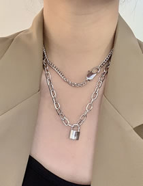 Fashion Silver Color Keychain Lock-shaped Alloy Thick Chain Multilayer Necklace