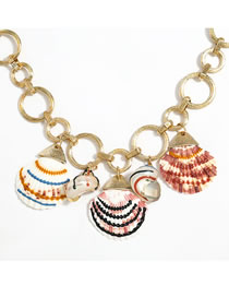 Fashion Shell Alloy Shell Pendant Thick Chain Necklace