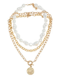 Fashion Gold Color Round Pearl Geometric Alloy Multilayer Necklace