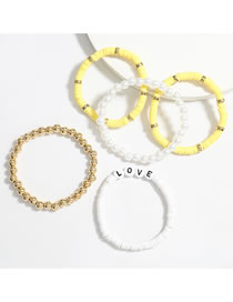 Fashion Yellow Soft Ceramic Disc Imitation Pearl Letter Bracelet Set
