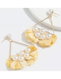 Fashion Yellow Fan Shaped Alloy Inlaid Pearl Fabric Petal Earrings