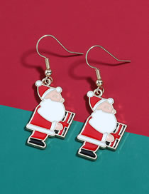 Fashion Santa Claus Christmas Eve Alloy Oil Drop Geometric Shape Christmas Earrings