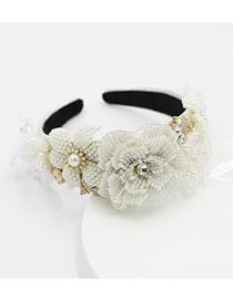 Fashion Hair Band Crystal Flower Diamond Pearl Wide Brim Headband