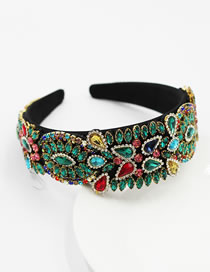 Fashion Hair Band Diamond-studded Geometric Sponge Broad-brimmed Headband