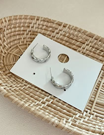 Fashion About 10grams Of Silver Color Color(about 2 Cm In Diameter) Alloy Diamond Half Circle C-shaped Wide Earrings