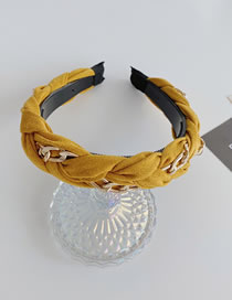 Fashion Yellow Alloy Chain Braided Wide Side Pleated Suede Velvet Headband