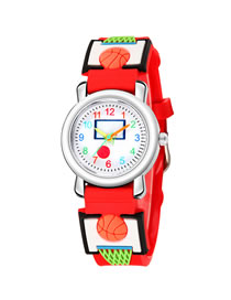 Fashion Red 4d Embossed Basketball Sports Childrens Watch