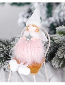 Fashion Pink Silver Color Colorsilk Plush Five-star Angel Handmade Plush Girl Angel Christmas Tree Pendant
