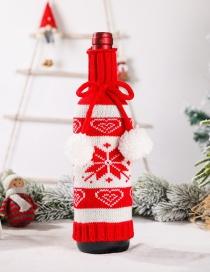 Fashion New Knitted Wine Set Snowflake Christmas Elk Snowflake Knitted Wine Bottle Set