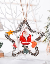 Fashion Elderly Five-pointed Star Vine Circle Christmas Snowman Angel Vine Ring Coffee Shop Decoration Pendant