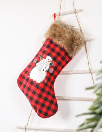 Fashion Plush Plaid Socks Snowman Plaid Snowman Elk Christmas Stocking Children Gift Candy Bag