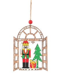 Fashion Wooden Pendant Walnut Soldier Wooden Shopping Mall Hotel Window Christmas Tree Pendant