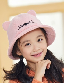Fashion Pink Cat Print Kids Fisherman Hat