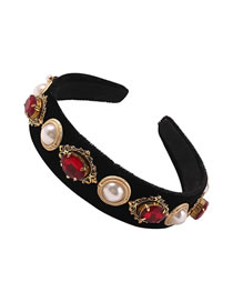 Fashion Red Diamond-studded Pearl Geometric Fabric Wide-brimmed Headband