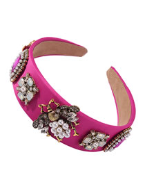 Fashion Red Diamond-studded Pearl Insect Geometric Wide-brimmed Headband