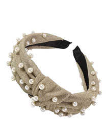 Fashion Yellow Pearl Beaded And Knotted Wide Brim Headband