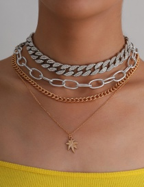 Fashion Color Mixing Alloy Maple Leaf Thick Chain Contrasting Color Multilayer Necklace