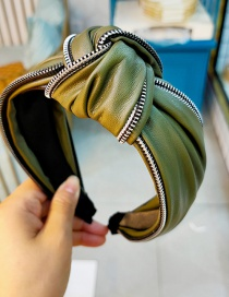 Fashion Green Zipper Zippered Headband With Wide Leather Sides