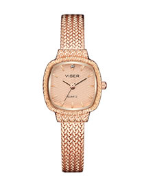 Fashion Rose Gold Noodles Square Stainless Steel Bracelet Watch With Chain Subdial