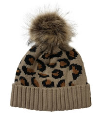 Fashion Camel Leopard-print Curled Wool Ball Knit Beanie