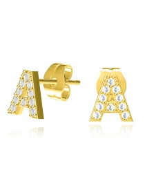 Fashion A-gold Copper Inlaid Zircon Letter Hollow Earrings
