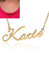 Fashion Katie-gold Stainless Steel Letter Pendant Hollow Necklace