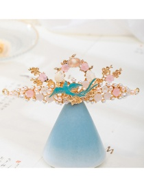 Fashion Golden Pearl Drop Oil Bird Flower Resin Alloy Hairpin