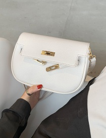 Fashion White Lock Flap Solid Color One-shoulder Cross Bag