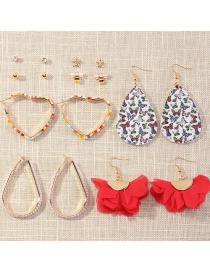 Fashion Color Mixing Love Rice Bead Butterfly Oil Dripping Alloy Geometric Earrings Set