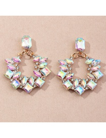 Fashion Round Geometric Alloy Earrings With Rhinestones