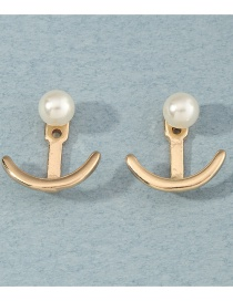 Fashion Golden Metal Anchor Pearl Earrings