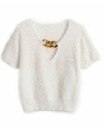 Fashion White Pure Color Chain Hollow Wool Short-sleeved Sweater