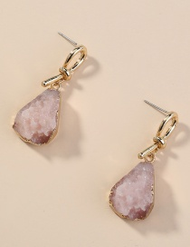 Fashion Pink Wrapped Natural Stone Drop-shaped Alloy Earrings
