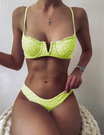 Fashion Yellow Small Floral V-shaped Steel Back Gather Split Swimsuit