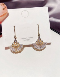 Fashion Real Gold Plated Crystal Fan-shaped Real Gold Plated Earrings With Zircon