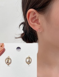 Fashion 14k Real Gold Plated Circle Copper Inlaid Zircon Ear Studs
