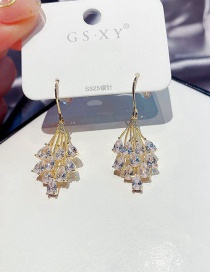 Fashion Real Gold Plated Water Drop Crystal Tassel Copper Inlaid Zircon Earrings